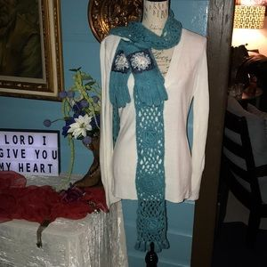 Aqua knitted scarf and gloves
